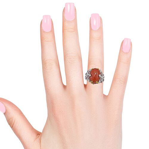 Red Jade (Ovl), Rhodolite Garnet and Natural Cambodian Zircon Ring in Platinum and Yellow Gold Overlay Sterling Silver 15.000 Ct. Silver wt 6.50 Gms. Number of Gemstone 121