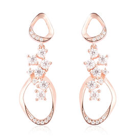 LucyQ Fluid Collection - White Moissanite Dangle Earrings (with Push Back) in Rose Gold Overlay Ster