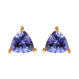 Tanzanite Stud Earrings (with Push Back) in 14K Gold Overlay Sterling Silver