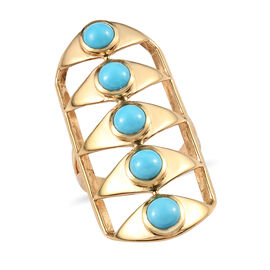 Arizona Sleeping Beauty Turquoise (Rnd) Gladiator Ring in 14K Gold Overlay Sterling Silver 2.25 Ct,