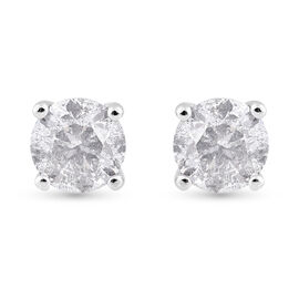 NY Close Out 14K W Gold Diamond (I1 and G/H) Stud Earrings (with Push Back) 0.75 Ct.