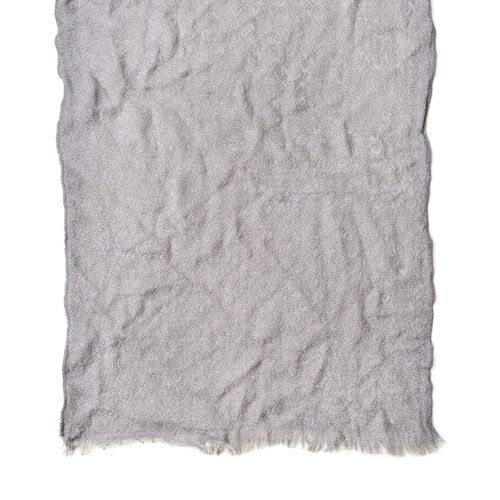 Designer Inspired-Grey Colour Knitted Scarf with Fringes (Size 190X55 Cm)