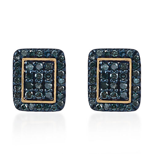 Blue Diamond (Rnd) Earrings (with Push Back) in 14K Gold and Blue Overlay Sterling Silver 0.500 Ct.