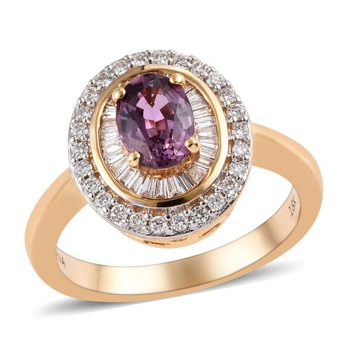 ILIANA Madagascar Purple Sapphire (0.90 Ct) and Diamond (G-H/SI) 18K Y Gold Ring  1.250  Ct.
