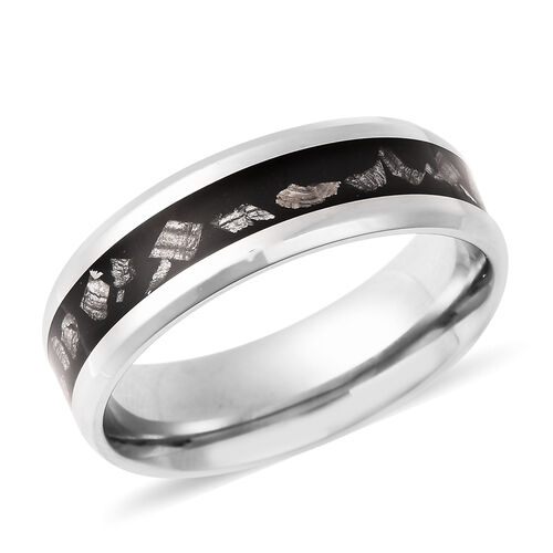 Meteorite and Shungite Band Ring in Stainless Steel 10.00 Ct.