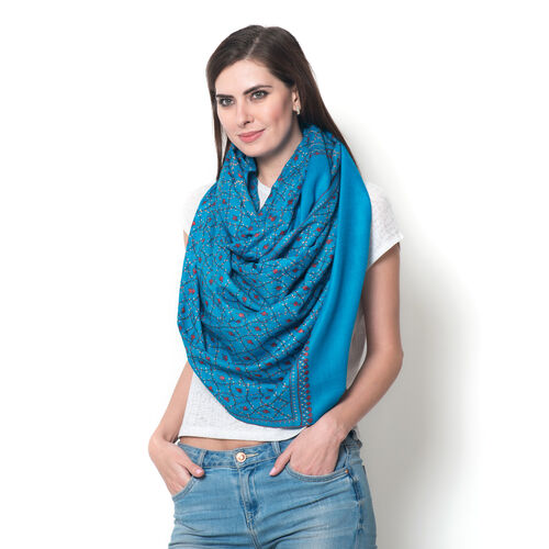 Limited Available - 100% Merino Wool Floral Hand Embroidered Turquoise Colour Shawl (Size 200x70 Cm)