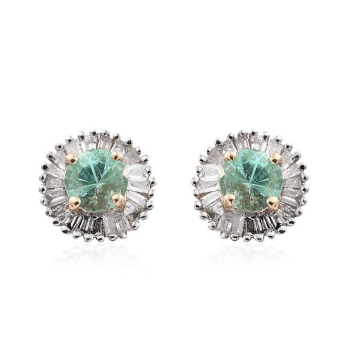 9K Yellow Gold AA Boyaca Colombian Emerald (Rnd), Diamond Halo Stud Earrings (with Push Back) 0.900 Ct.