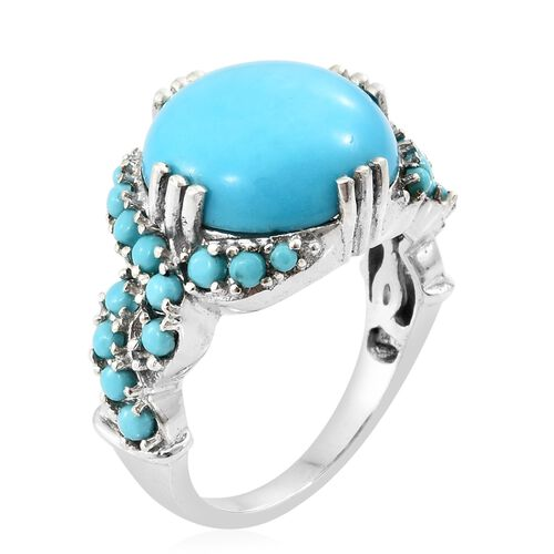 Cocktail Collection-Arizona Sleeping Beauty Turquoise (Rnd 6.75 Ct) Ring in Platinum Overlay Sterling Silver 7.750 Ct. Silver wt 5.10 Gms.