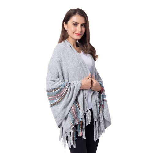One Time Close Out Deal- Designer Inspired- Grey Colour Stripe Pattern Scarf (Size 160x75 Cm)