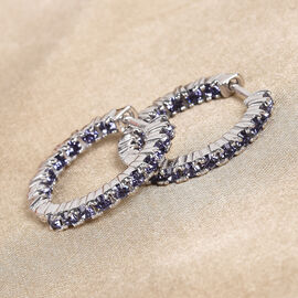 J Francis Crystal from Swarovski Tanzanite Colour Crystal Hoop Earrings (with Clasp) in Silver Tone