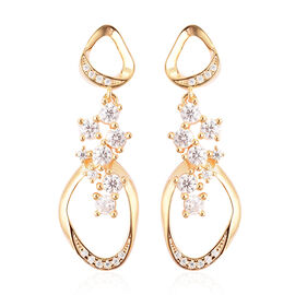 LucyQ Fluid Collection - White Moissanite Dangle Earrings (with Push Back) in Yellow Gold Overlay St