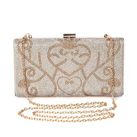 Heart Pattern Crystal Studded Clutch Bag with Detachable Strap and Toggle Clip Size 21.5x11.5x4.5 Cm