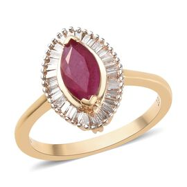 ILIANA 18K Yellow Gold AAA Burmese Ruby (Mrq 9x4.5mm), Diamond (SI/G-H) Marquise Ring 1.00 Ct.
