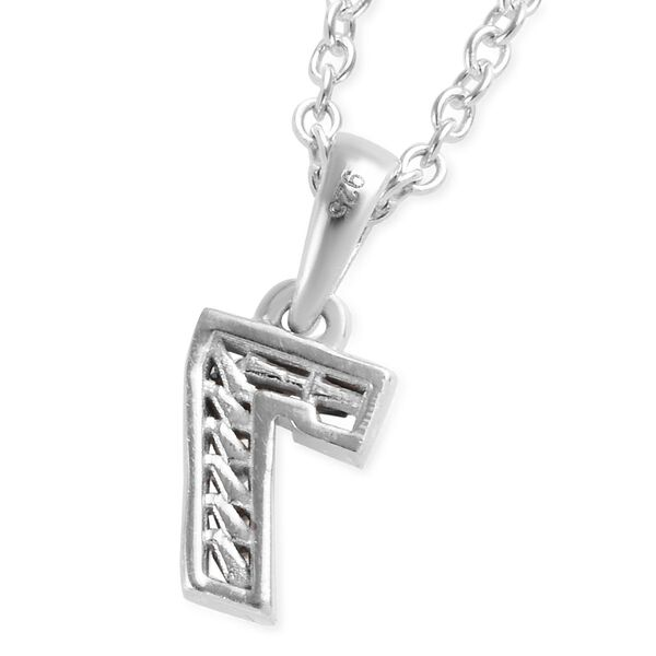 Blue and White Diamond Number Seven Pendant with Chain (Size 18) in Platinum Overlay Sterling Silver 0.03 Ct.