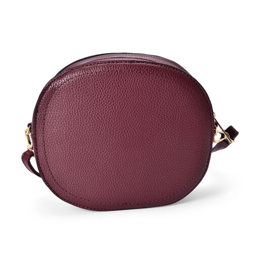 Burgundy Colour Small Size Crossbody Bag with Adjustable and Removable Shoulder Strap (Size 19x16.5x7 Cm)