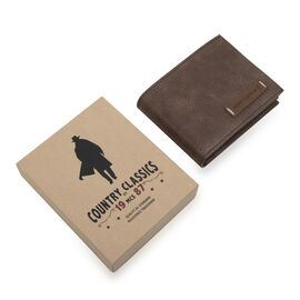 MCS Country Classics: 100% Genuine Leather Tri Fold Mens Wallet - Dark Brown and Cognac
