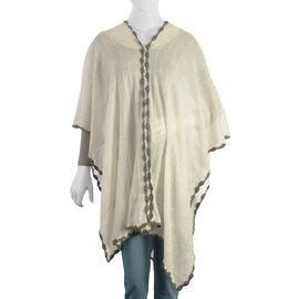 Cream Colour Crochet Work Poncho (Size 92x52 Cm)