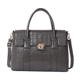 Solid Grey Croc Pattern Handbag with Adjustable Shoulder Strap (34x13x25cm)