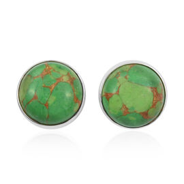 Mojave Green Turquoise (Rnd) Stud Earrings (with Push Back) in Sterling Silver 5.220  Ct.
