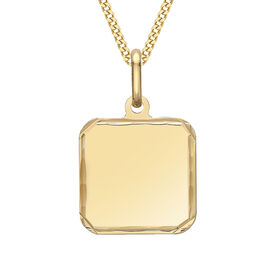 9ct yellow gold carved edge square polished pendant