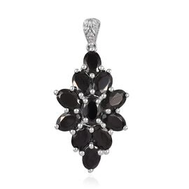 3.30 Ct Elite Shungite and Cambodian Zircon Floral Cluster Pendant in Platinum Plated Silver