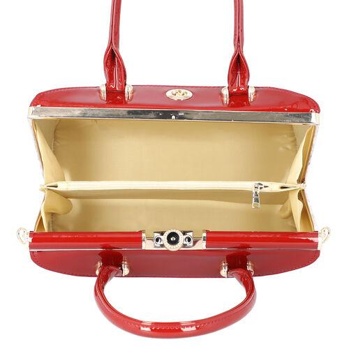 BOUTIQUE COLLECTION Croc Pattern Satchel Bag with Detachable and Adjustable Shoulder Strap (Size 30x13x22 Cm) - Wine Red