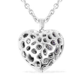 RACHEL GALLEY Tanzanite Lattice Heart Locket Pendant with Chain (Size 20 with Extender) in Rhodium O