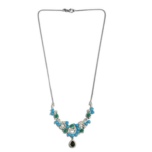Limited Edition- GP Arizona Sleeping Beauty Turquoise (Pear), Russian Diopside and Multi Gemstone Necklace (Size 18) in Platinum Overlay Sterling Silver 8.500 Ct, Silver wt 16.30 Gms.