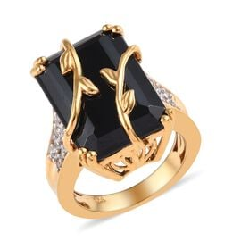 16 Carat Boi Ploi Black Spinel Zircon Leaf Ring in Gold Silver 6.73 Grams