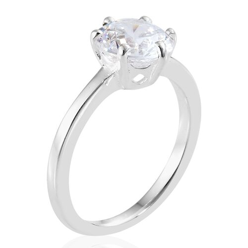 J Francis - Sterling Silver (Rnd 8mm) Solitaire Ring Made with SWAROVSKI ZIRCONIA