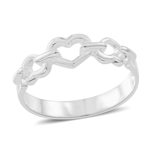 Set of 2 - Thai Rose Gold Overlay and Sterling Silver Love and Heart Ring, Silver wt. 5.68 Gms.
