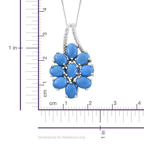 Ceruleite (Ovl), Diamond Floral Pendant With Chain in Platinum Overlay Sterling Silver 5.500 Ct.