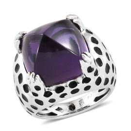 GP African Amethyst (Cush 16.97 Ct), Kanchanaburi Blue Sapphire Ring in Platinum Overlay and Enamled Sterling Silver 17.000 Ct, Silver wt 8.36 Gms.