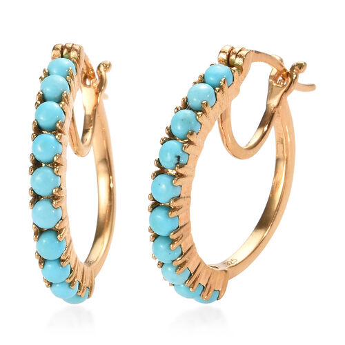 Arizona Sleeping Beauty Turquoise (Rnd) Hoop Earrings (with Clasp Lock) in 14K Gold Overlay Sterling Silver 1.500 Ct