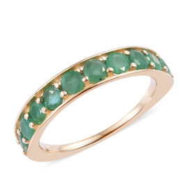 One Time Close Out Deal- 14K Yellow Gold AAA Kagem Zambian Emerald (Rnd) Half Eternity Band Ring 1.0