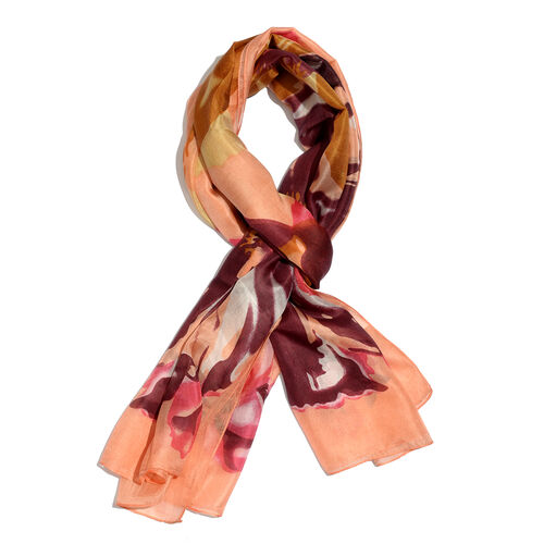 100% Mulberry Silk Golden, Chocolate and Multi Colour Floral Pattern Orange Colour Scarf (Size 180x100 Cm)