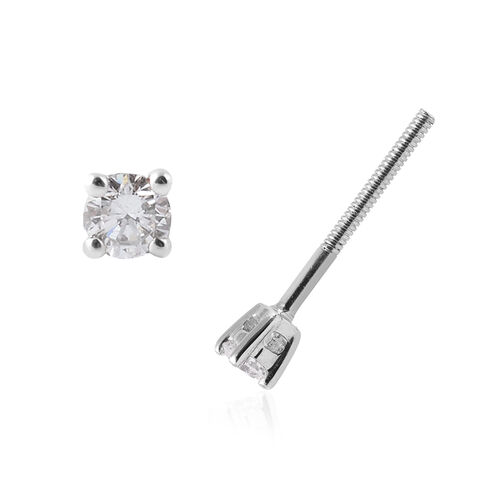 RHAPSODY 950 Platinum IGI Certified Diamond (Rnd) (E-F/VS) Earrings (with Screw Back) 0.10 Ct.