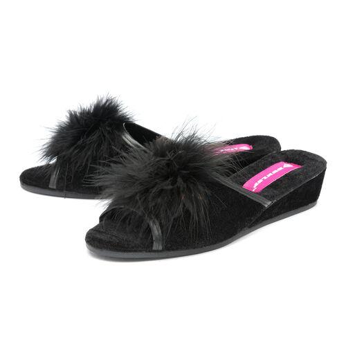 Dunlop Marilyn Boa Wedge Slipper Mules (Size 8) - Black