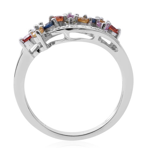 Rainbow Sapphire (Rnd) Floral Ring in Rhodium Plated Sterling Silver 1.020 Ct.