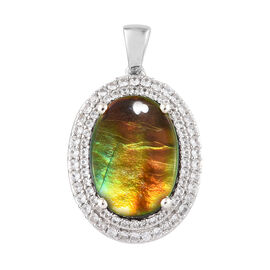 7.75 Ct AA Canadian Ammolite and Cambodian Zircon Halo Pendant in Platinum Plated Sterling Silver 4.