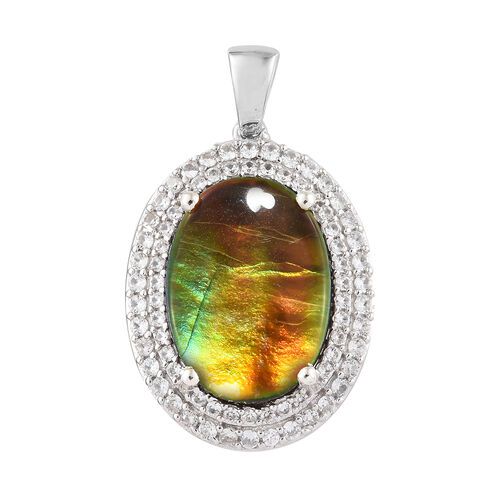 7.75 Ct AA Canadian Ammolite and Cambodian Zircon Halo Pendant in Sterling Silver 4.66 Grams