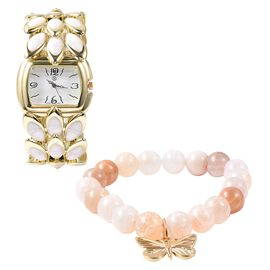 2 Piece Set - STRADA Japanese Movement Water Resistant Bracelet Watch and White Agate Stretchable Br