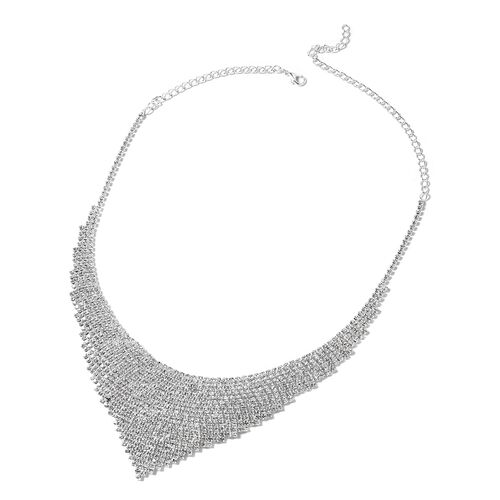 White Austrian Crystal (Rnd) Necklace (Size 22) and Earrings in Silver Tone