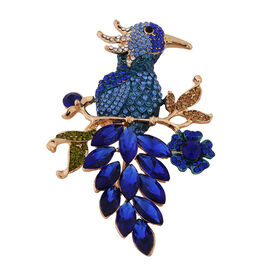 Simulated Blue Sapphire and Multi Colour Austrian Crystal Bird Brooch in Yellow Gold Tone