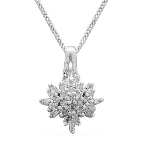 Fire Cracker Diamond (Rnd and Bgt) Pendant With Chain (Size 18) in Platinum Overlay Sterling Silver 0.250 Ct.