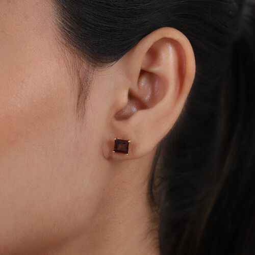 Red Garnet Solitaire Stud Push Post Earring in 14K Gold Overlay Sterling Silver 1.87 ct  1.870  Ct.