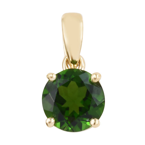 9K Yellow Gold AAA Russian Diopside Solitaire Pendant 0.85 Ct.