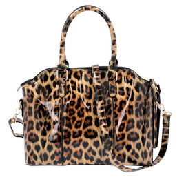 Black and Brown Leopard Pattern Tote Bag with Zipper Closure and Detachable Shoulder Strap (Size32x2