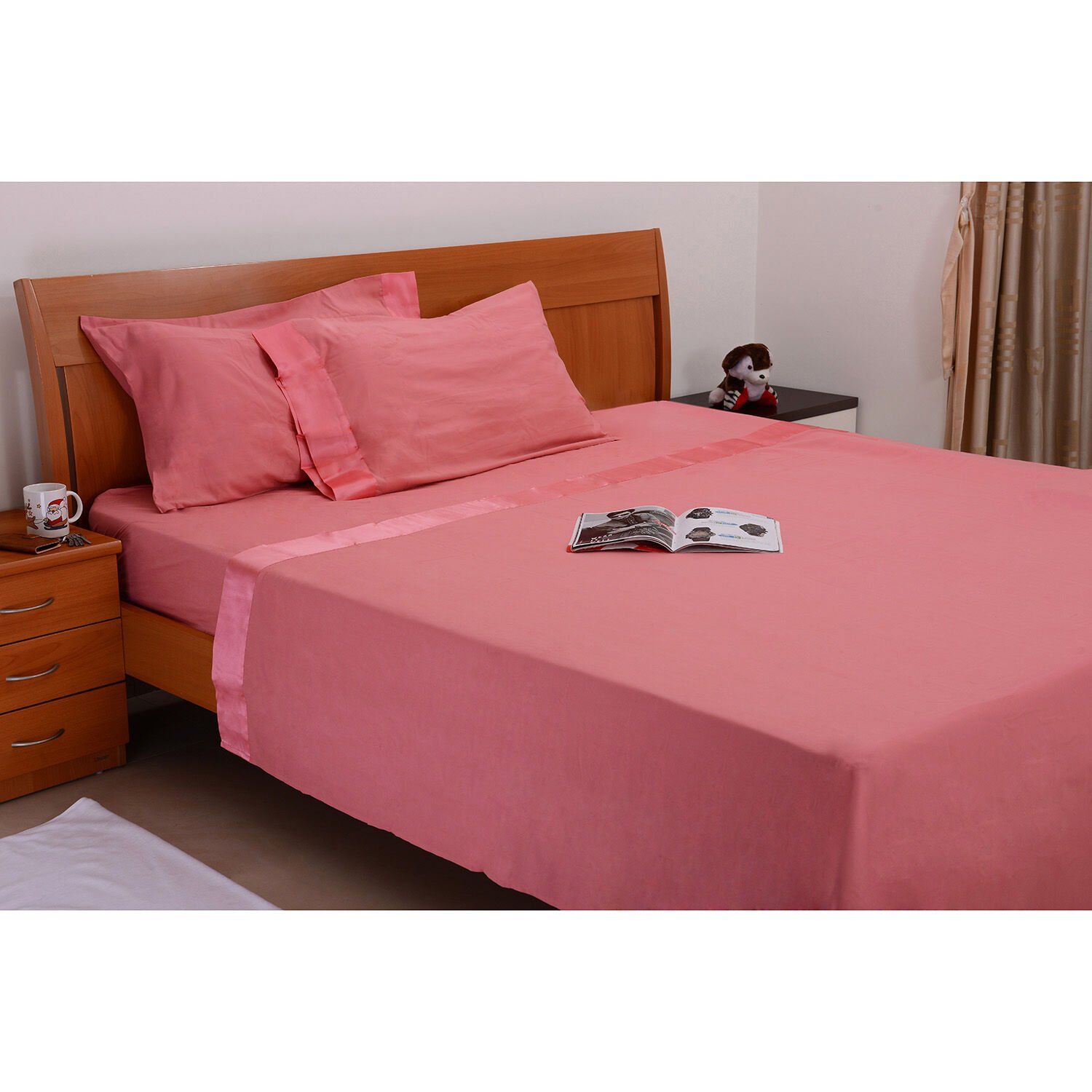 Peach Colour One Fitted Double Bed Sheet (Size 78x54 Inch), One Flat Sheet  ...