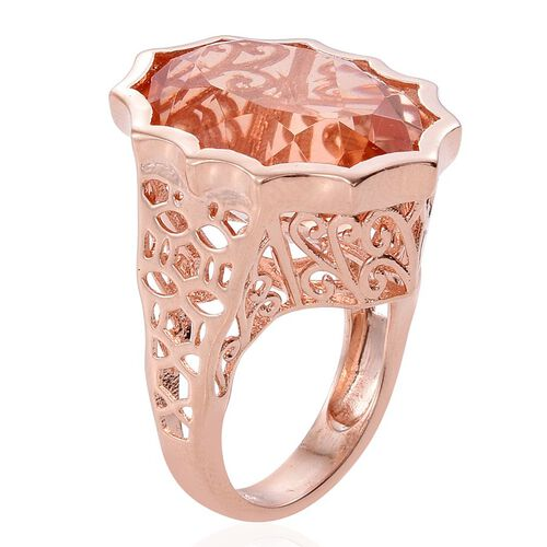 Galileia Blush Pink Quartz (Ovl) Ring in Rose Gold Overlay Sterling Silver 19.250 Ct. Silver wt 6.78 Gms.